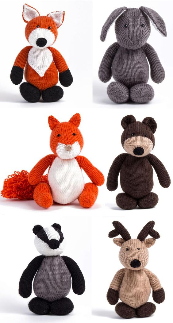 Woodland Animals Knitting Patterns or Kit