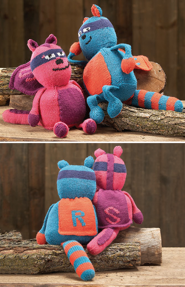 Free knitting pattern for Raccoon Superheroes