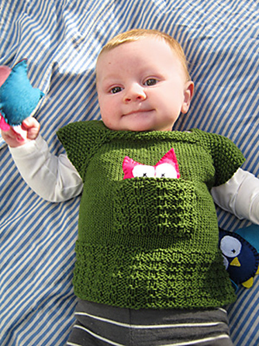 Free knitting pattern for Woodland Tee baby vest with pocket