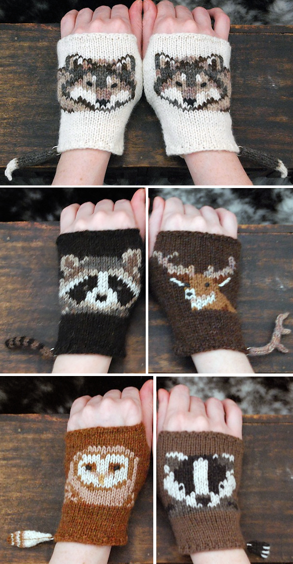 Knitting Pattern for Woodland Animals Mitts