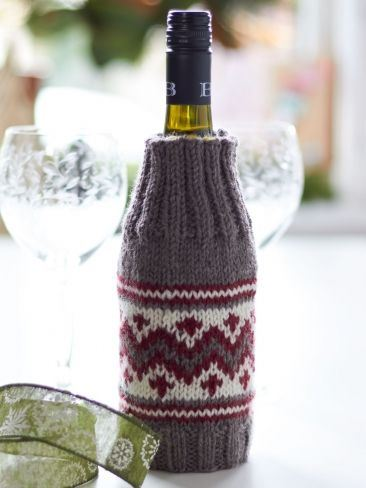 Wine Bottle Cozy Free Knitting Pattern and more cosy knitting patterns