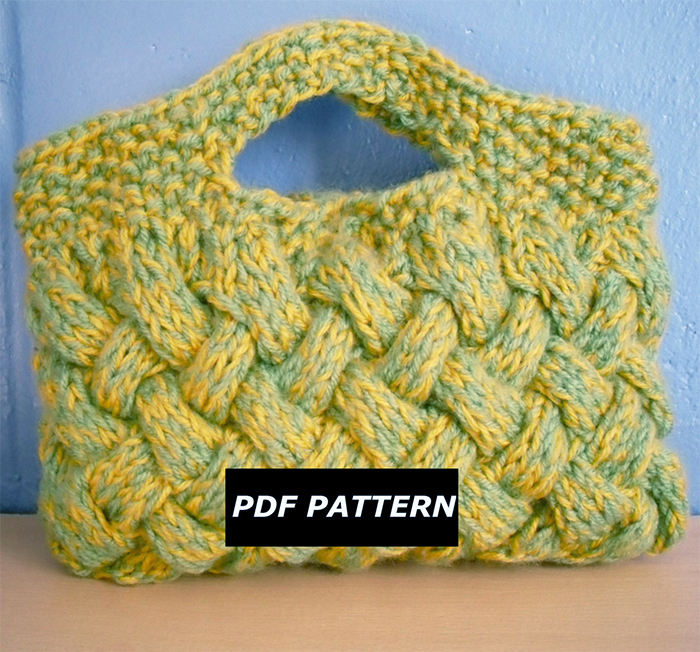 Knitting Pattern for Woven Cable Clutch Bag