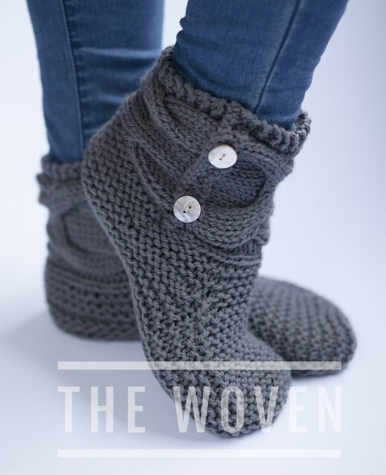 Free Knitting Pattern Woven Slipper Booties