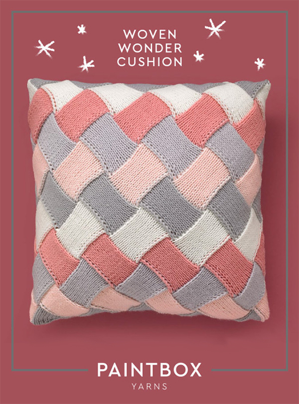 Free Knitting Pattern for Woven Wonder Cushion