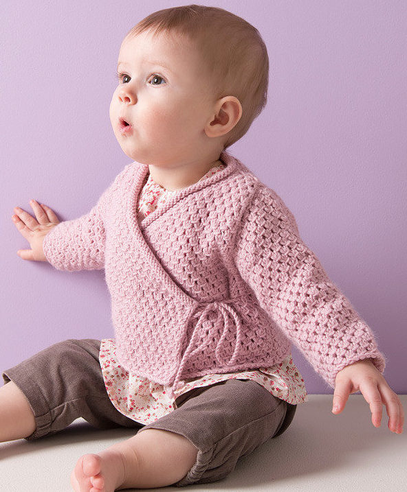 Free Knitting Pattern for 4 Row Repeat Baby Wrap Jacket