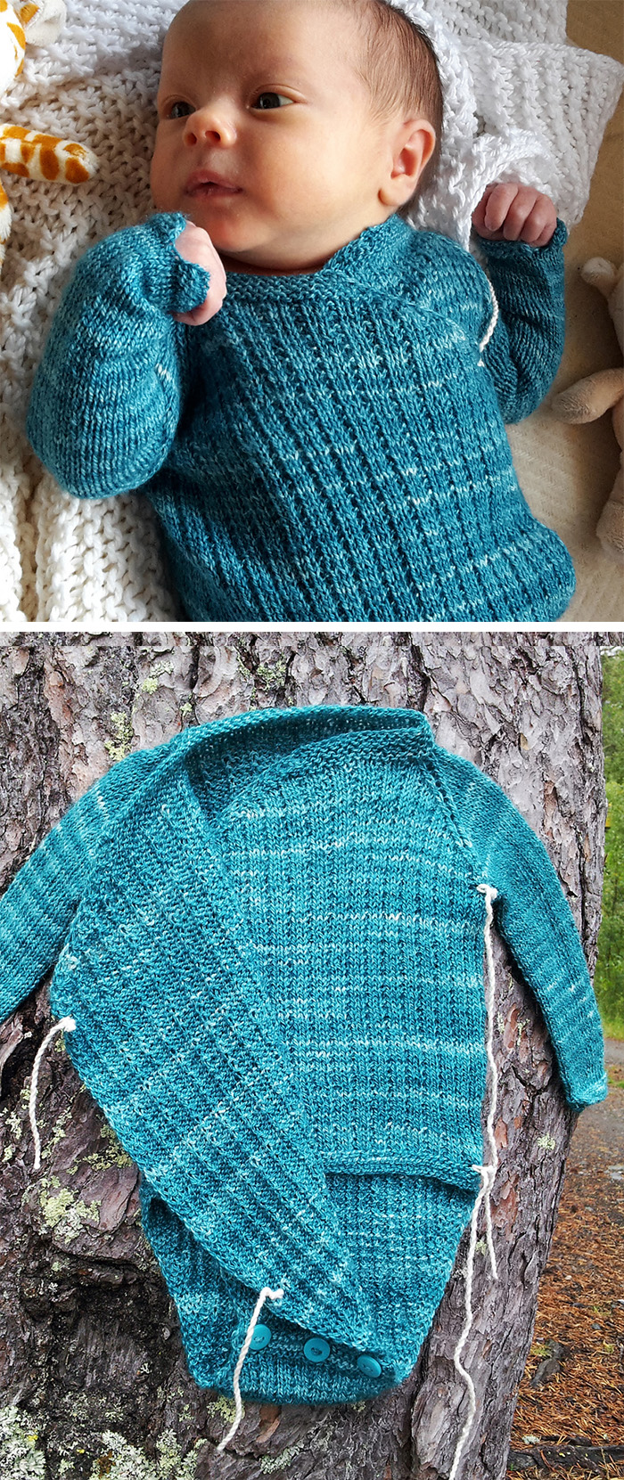 Free Knitting Pattern for Wrapover Onesie