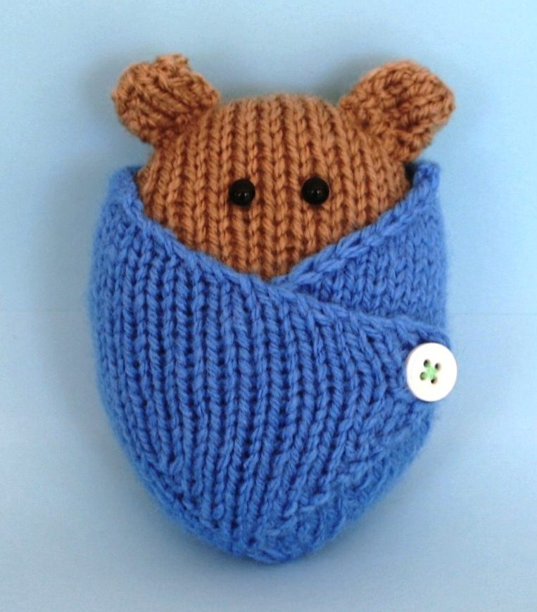Knitting Pattern for Wrapped Up Baby and Baby Bear in blanket and basket