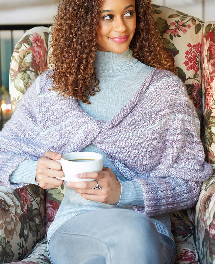 Free Knitting Pattern for Twist Poncho with Sleeves