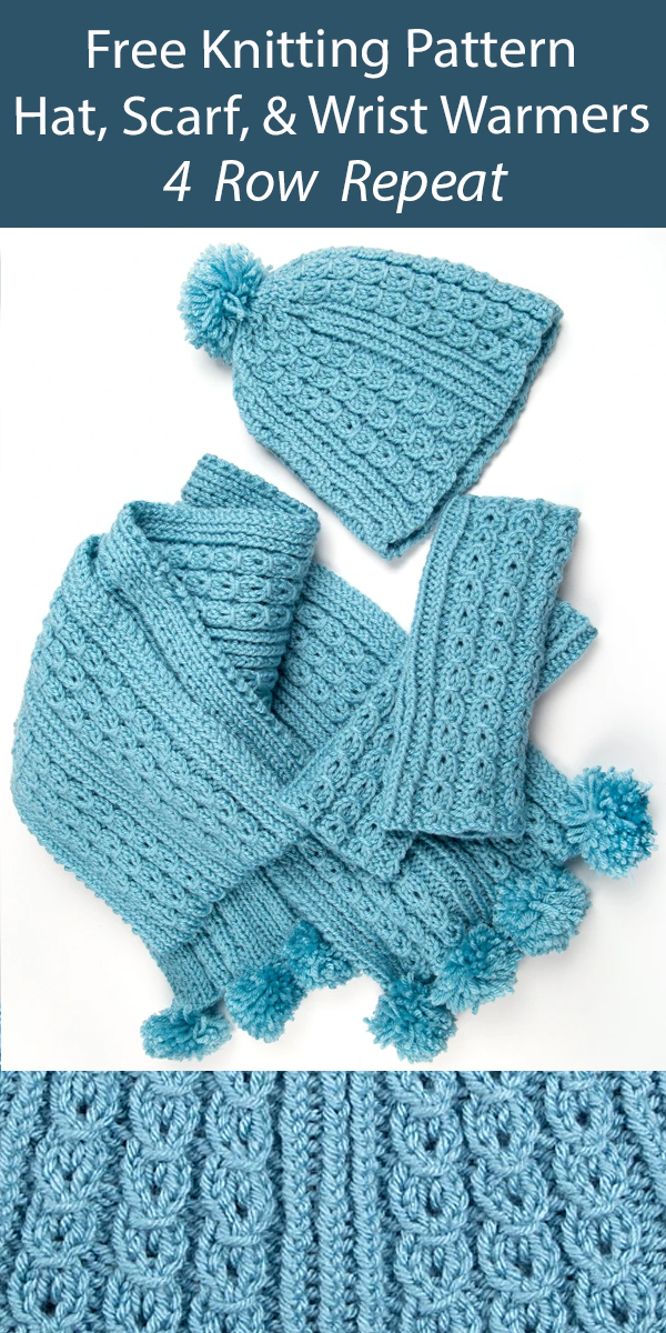 Free Matching Hat, Scarf, & Wrist Warmers Knitting Pattern Set 4 Row Repeat