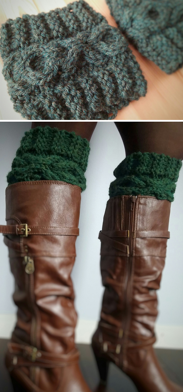 Knitting Pattern for XOXO Cable Chunky Boot Cuff