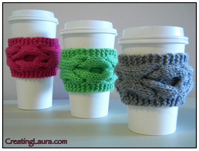 XOXO Coffee Sleeve Free Knitting Pattern and more cosy / cozy knitting patterns
