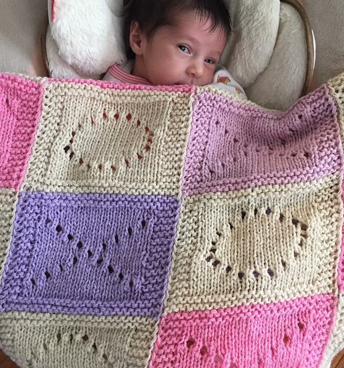 Free Knitting Pattern for Hugs and Kisses Baby Blanket