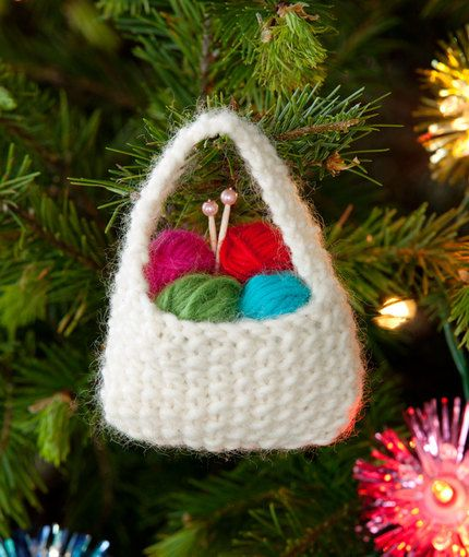 Free knitting pattern for Yarn Basket ornament and more Christmas decoration knitting patterns