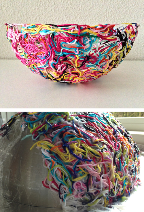 Free tutorial for Yarn Bowl made of yarn ends