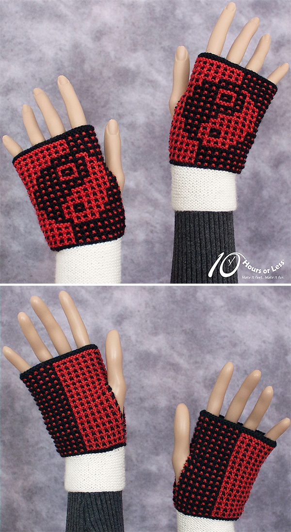 Knitting Patterns for Yin and Yang Mitts