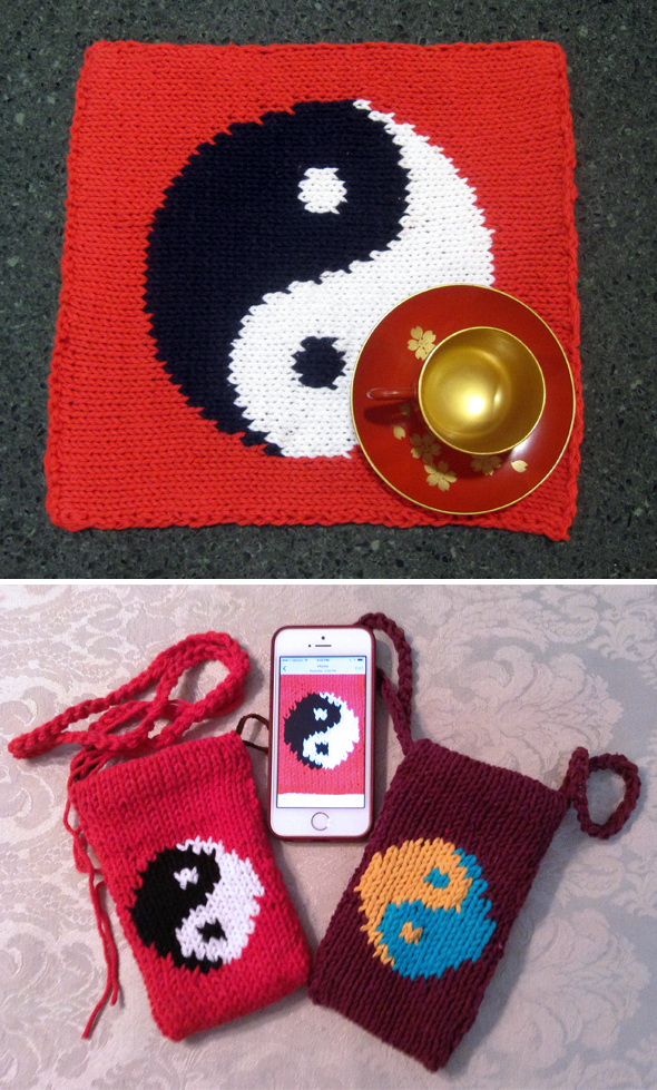 Knitting Patterns for Yin-Yang Placemat and Small Purse