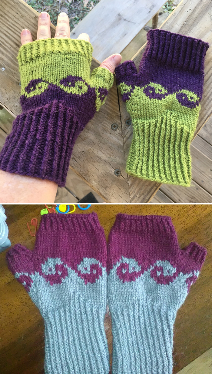 Free Knitting Pattern for YinYang Waves Mitts