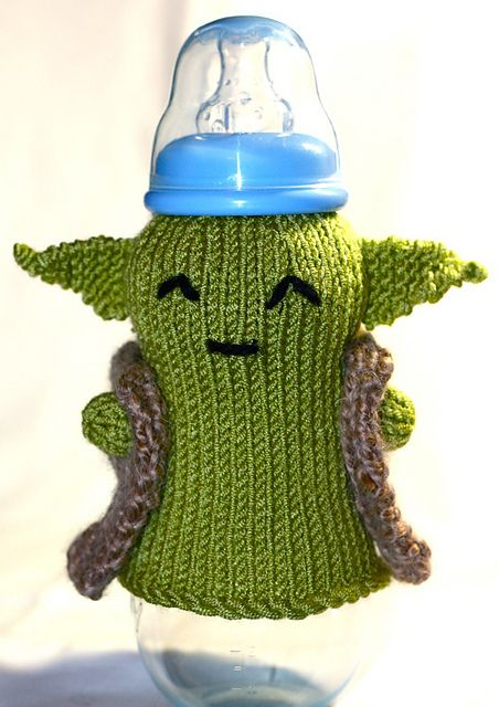 Yoda Baby Bottle Cozy Free Knitting Pattern and more Star Wars inspired knitting patterns