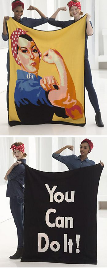 Free knitting pattern for You Can Do It Afghan with Rosie the Riveter