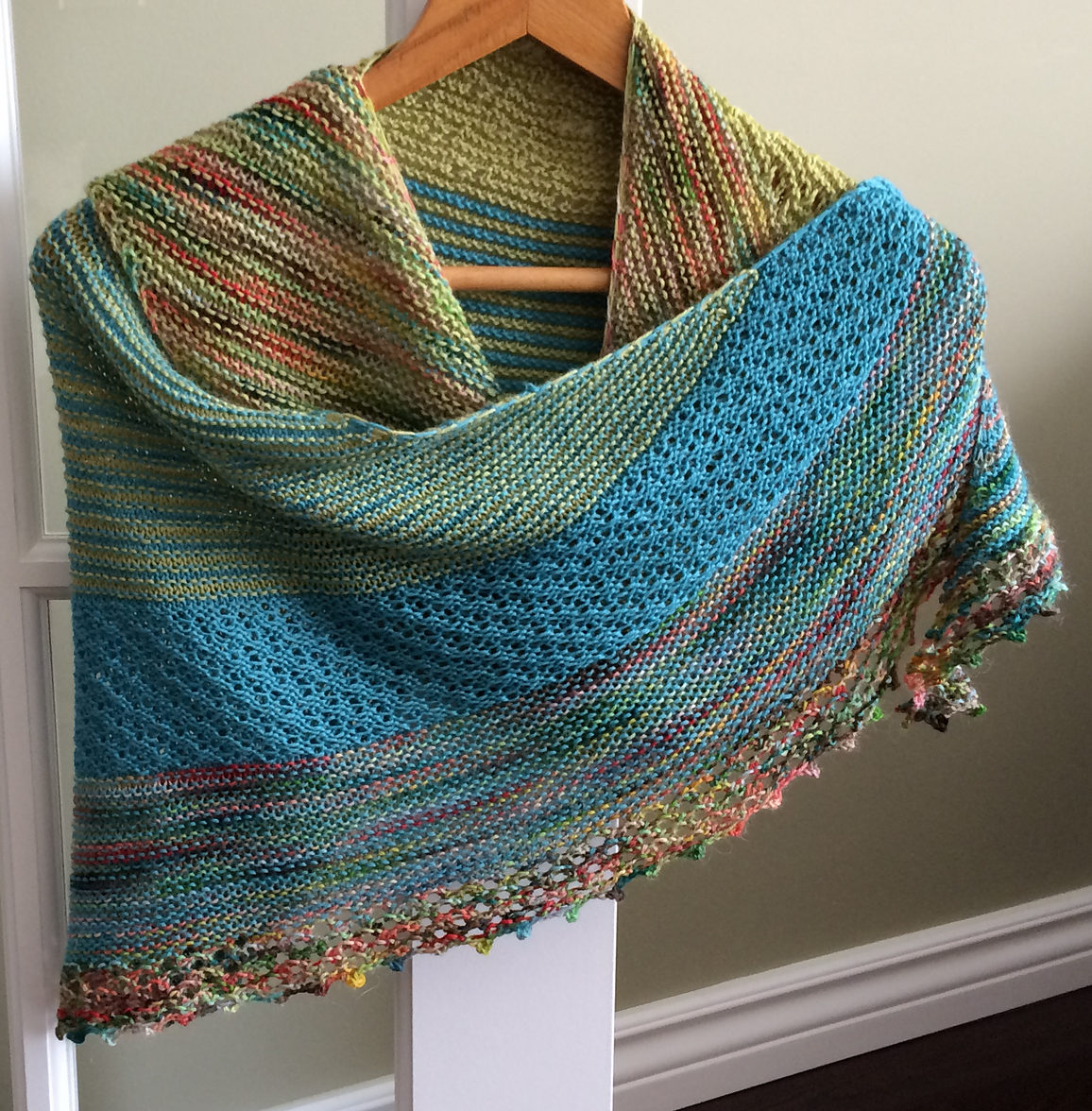Free Knitting Pattern for Yours Truly Summer Shawl
