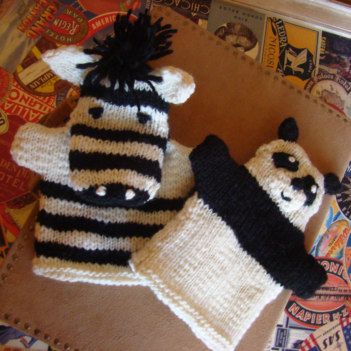 Free Knitting Pattern for Zebra and Panda Hand Puppets