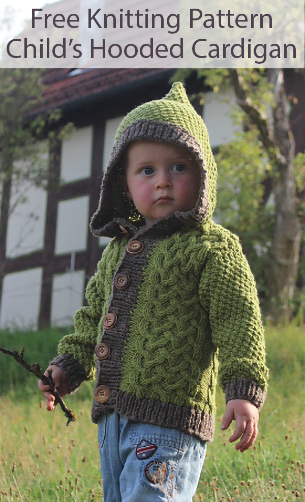 Free Knitting Pattern for Child's Cardigan With Hood