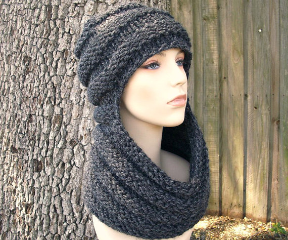 Zhivago Cowl with Hat Knitting Pattern and more cowl knitting patterns, many free