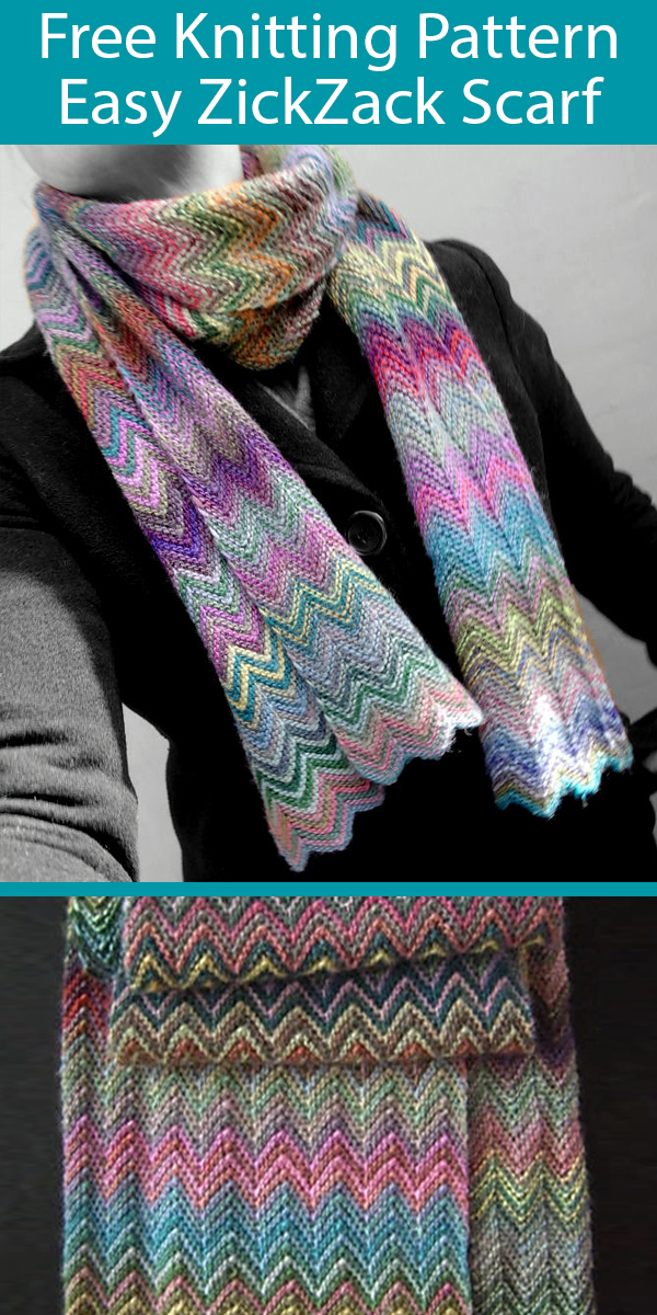 Free Knitting Pattern for Easy ZickZack Scarf for Gradient Yarn