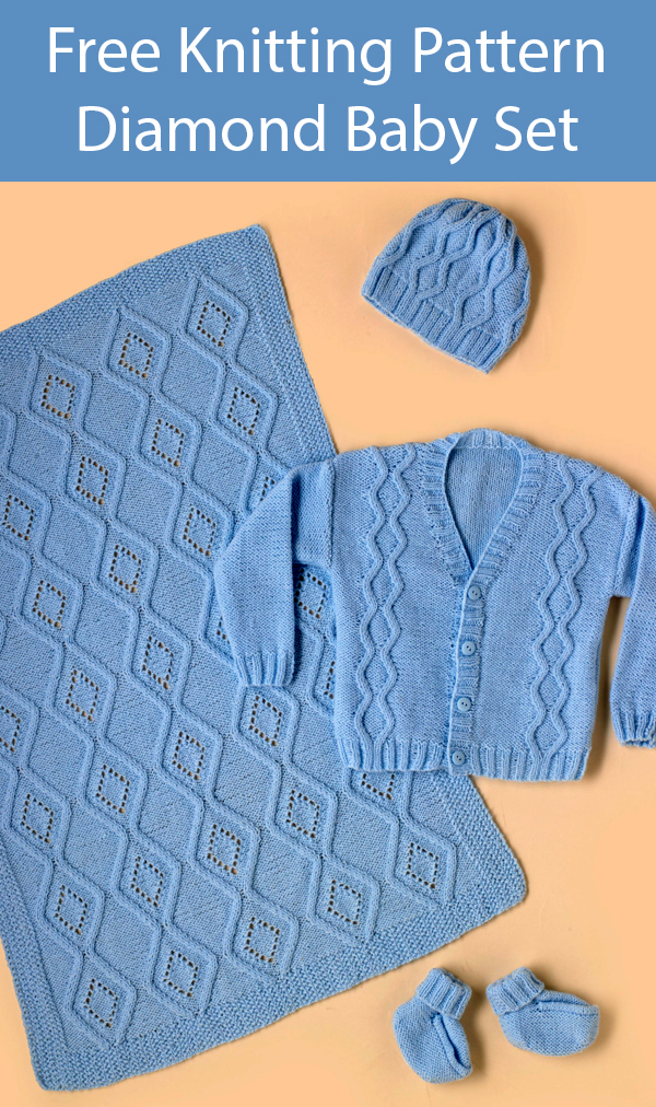 Free Knitting Pattern for Diamond Baby Blanket, Sweater, Hat, Booties Set