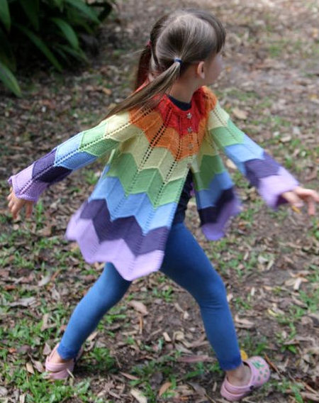 Knitting Pattern for Ziggerzagger Rainbow Jacket