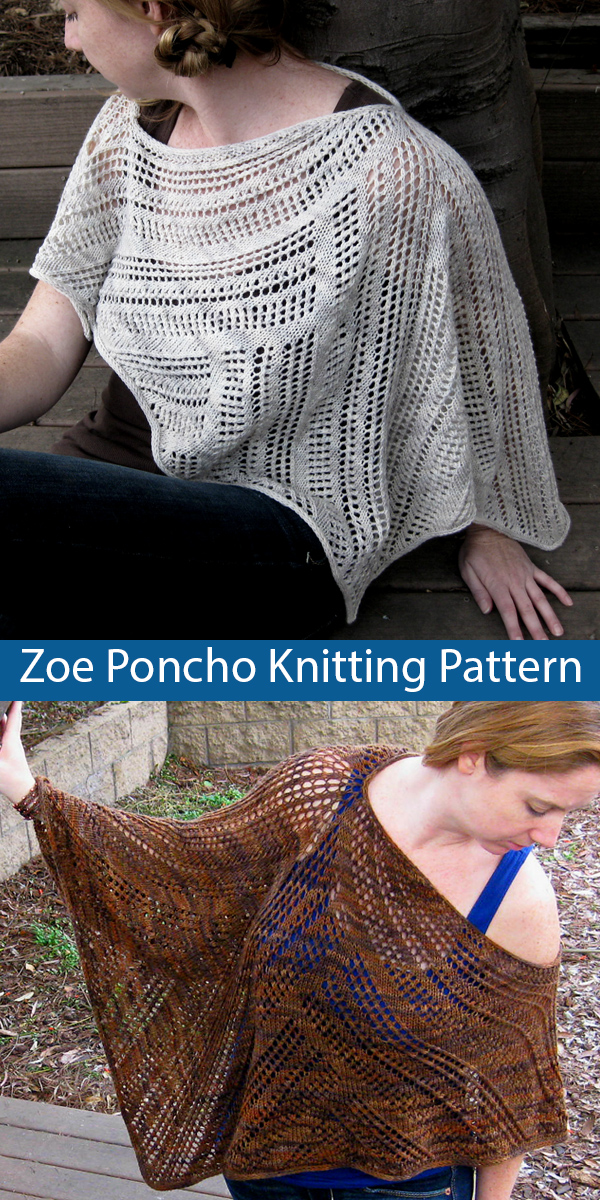 Knitting Pattern for Zoe Lace Poncho