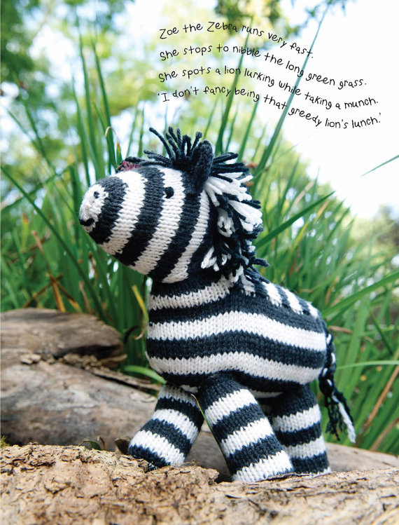 Knitting pattern for Zoe the Zebra toy softie