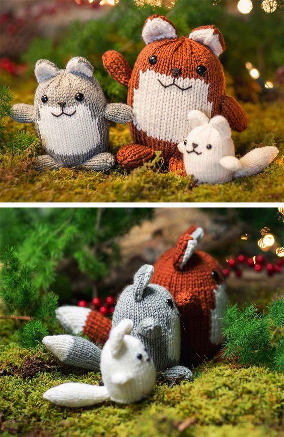 Knitting Pattern for Fox Family