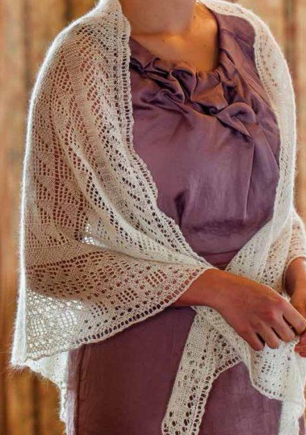 Knitting Pattern for Lacy Triangular Shawl
