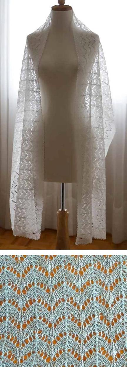 Free Knitting Pattern for Horseshoe Wedding Stole