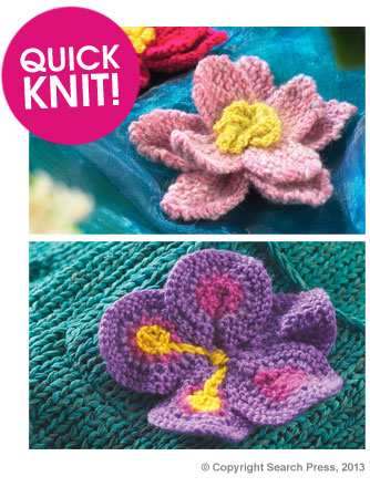 Water Lily and Pansy Flower Free Knitting Pattern | Flower Knitting Patterns, many free patterns at http://intheloopknitting.com/free-flower-knitting-patterns/