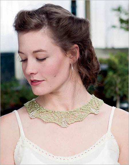 Endira Necklace Knitting Pattern with beads and lace | Jewelry Knitting Patterns, many free patterns, at http://intheloopknitting.com/jewelry-knitting-patterns/