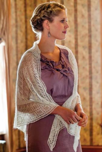 Lacy Triangular Knit Shawl 40s style Knitting Pattern   Shawl and Wrap Knitting Patterns at www.terrymatz.biz/intheloop