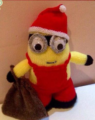 Knitting Pattern for Minion Santa