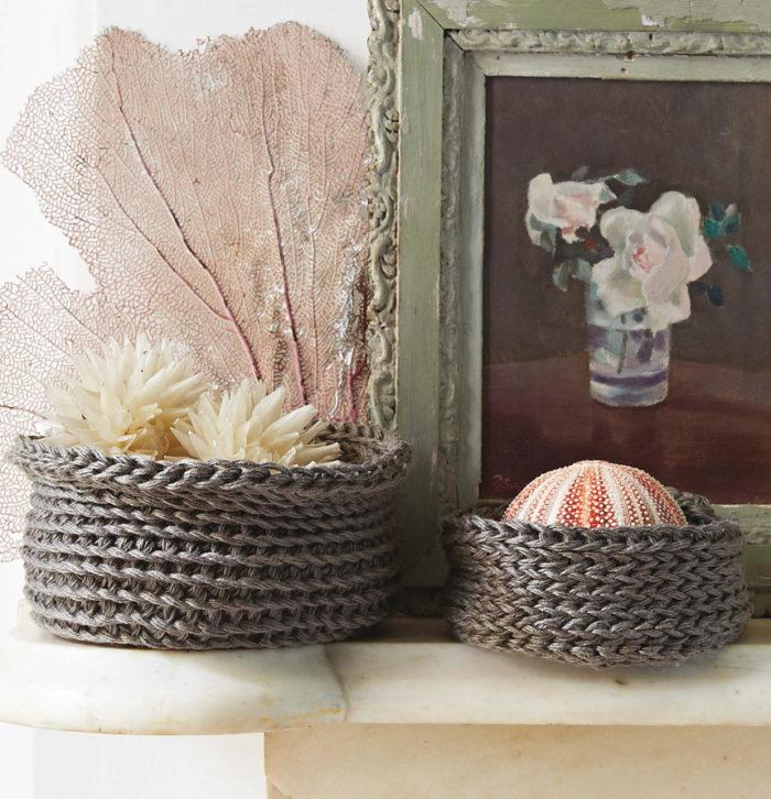 Knitting Pattern for Finger Knit Linen Baskets
