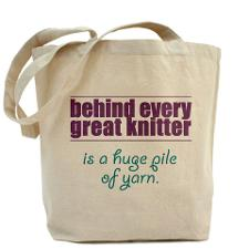 Behind every great knitter is a huge pile of yarn
