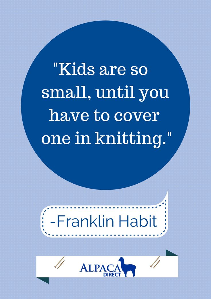 """Children are so small, until you have to cover one with knitting. Get more of Franklin Habit's knitting and crochet humor in his cartoon collection """"It Itches"""" on sale for $8.96"""