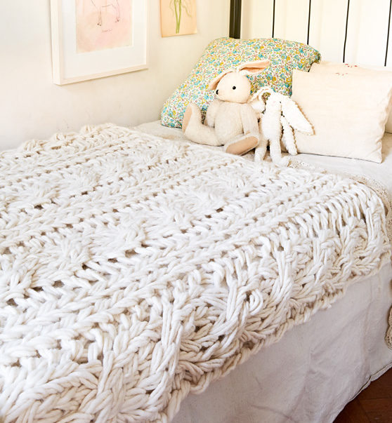 Knitting Pattern for Arm Knit Cable Blanket