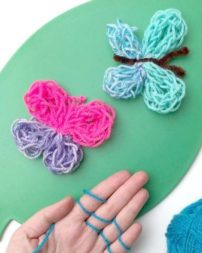 Free Finger Knitting Pattern for Butterflies