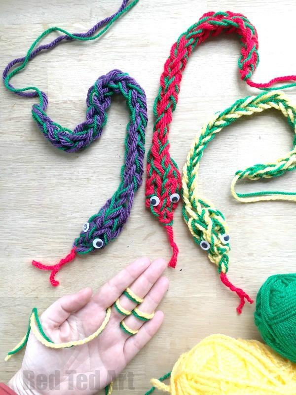 Free Knitting Pattern for Finger Knit Snakes