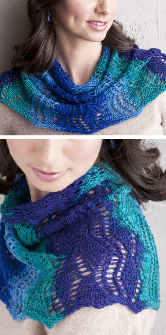 Free Knitting Pattern for Rippling Fans Cowl