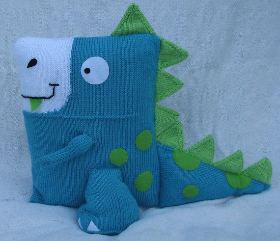 Dinosaur Pillow Knitting Pattern