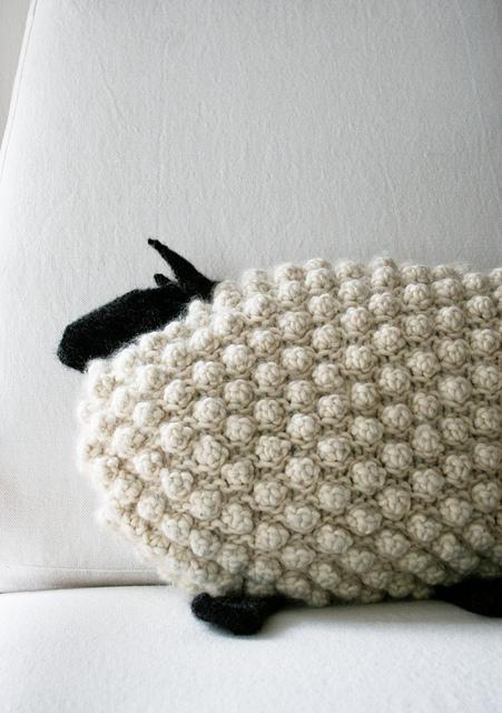 Bobble Sheep Pillow Free Knitting Pattern and more free cushion knitting patterns