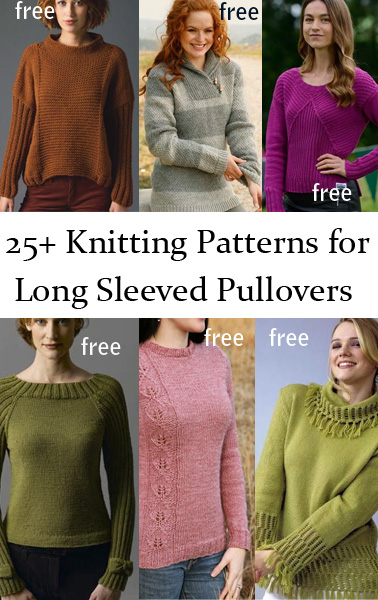 Long Sleeve Pullover Sweater Knitting Patterns