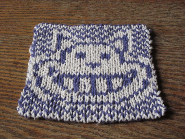 Cheshire Cat Potholder Trivet free knitting pattern -- back shows grin only